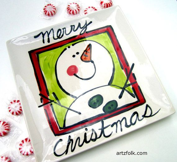 Merry Christmas Snowman Ceramic Platter Handmade by artzfolk $30.00  sc 1 st  Pinterest & 160 best Christmas Pottery Ideas images on Pinterest | Ceramic ...