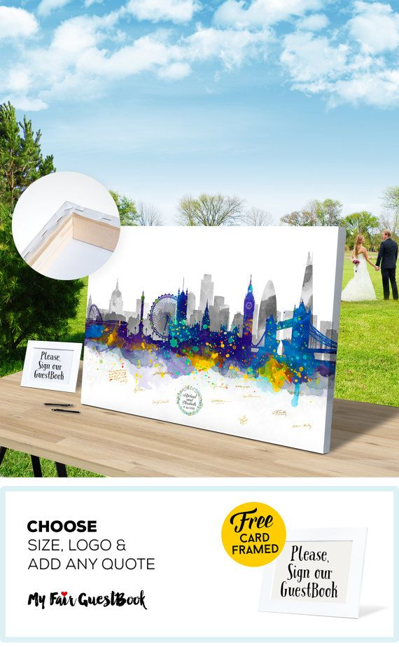 Wedding Guest Book London Skyline CANVAS Guest Book, Bride and Groom, Wedding Gift Ideas