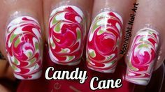 Candy Cane Swirl Dry Marble Nail Art (Toothpick Tutorial) - YouTube