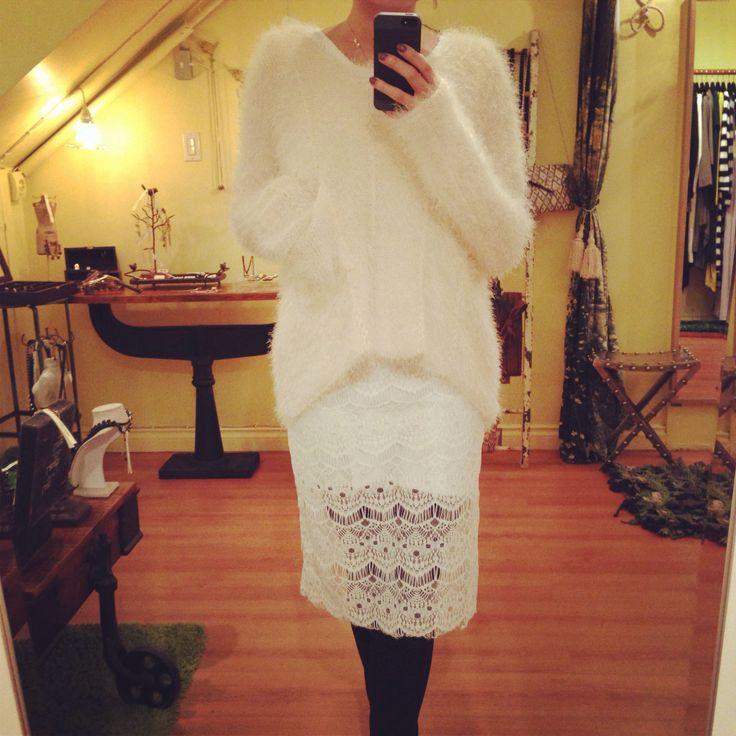 Oversize sweater over one piece dress