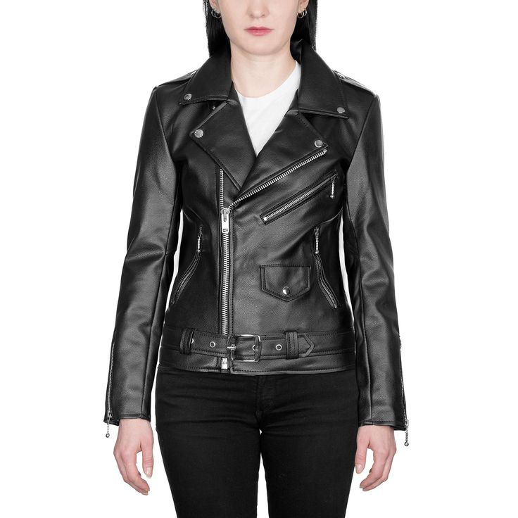 Shop Vegan Commando II Artificial Leather Jacket - Black with Nickel Hardware from Straight To Hell Apparel. Live loud.
