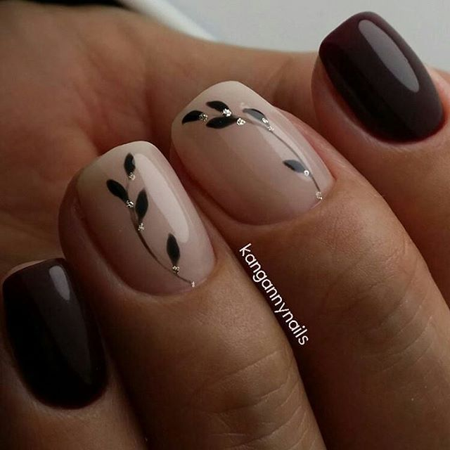 Маникюр | Видео уроки | Art Simple Nail | VK Superbe nail art fleural sur un duo de couleur