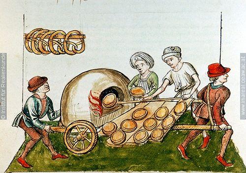 "Illumination; wood fired baking oven from 1465-1475,  ""A pie-baker"", Konzil von Konstanz ÖNB 3044, fol. 48v."