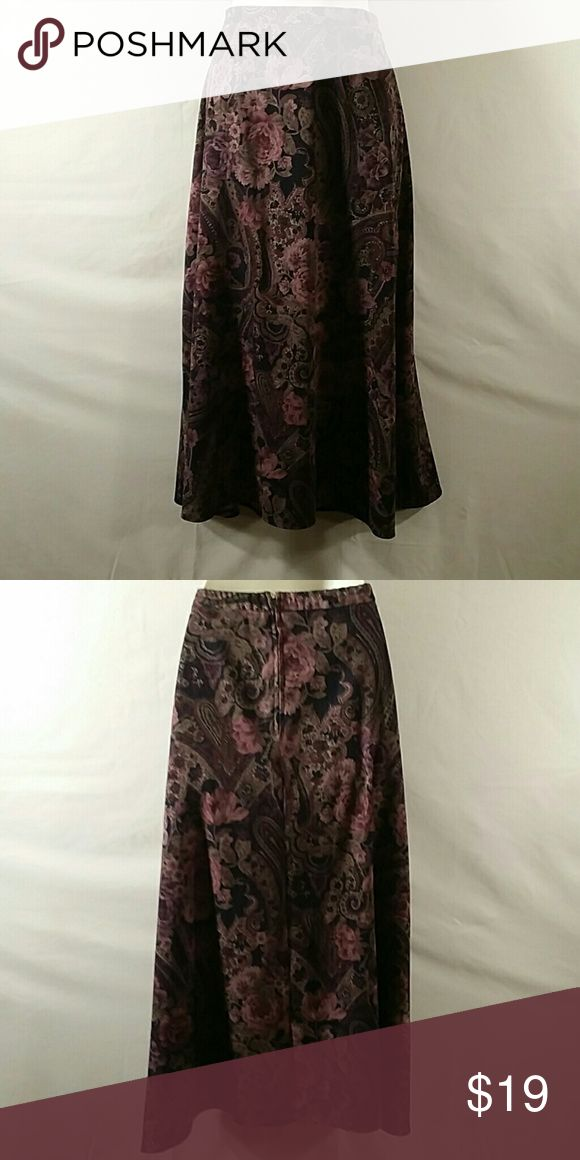 * NWOT * A Line Skirt * Beautiful * Purple Floral * Mid-calf * Zipper in Back * Polyester Spandex * Bundle and Save K Studio Collection Skirts