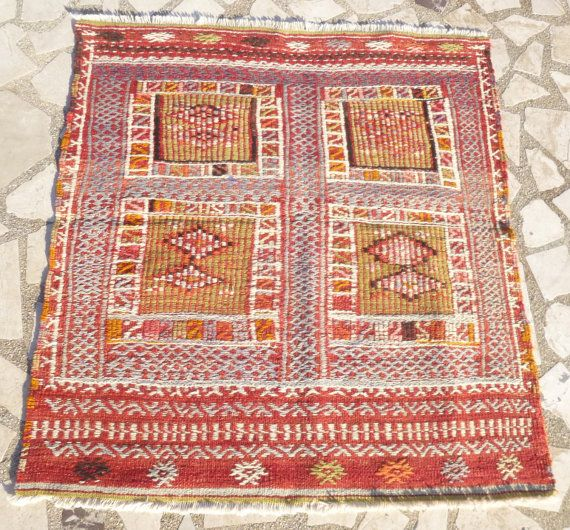 Small Vintage Ethnic Kilim Rug Red Navy And By