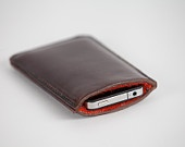 Saddle leather iPhone 4/4S or iPod Touch 4th Generation sleeve lined in Harris Tweed
