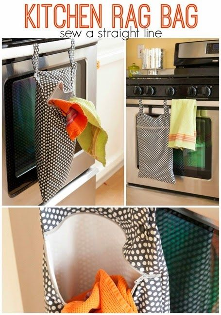 """Lined hanging """"hamper"""" for dirty kitchen rags, bibs, dish clothes, and paper napkins. Full tutorial with lots of pictures. Also, link to rolled kitchen towel tutorial."""