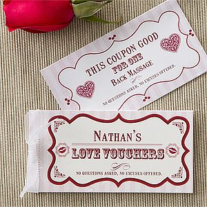 """Create Your Own Personalized """"Vouchers of Love"""" for Valentine's Day! These designs are SO cute and you can customize them so each of the 12 coupons can be redeemed for anything you want! Great gift idea for Him and it's only $9.95 at PersonalizationMall! #Valentine #Coupon"""