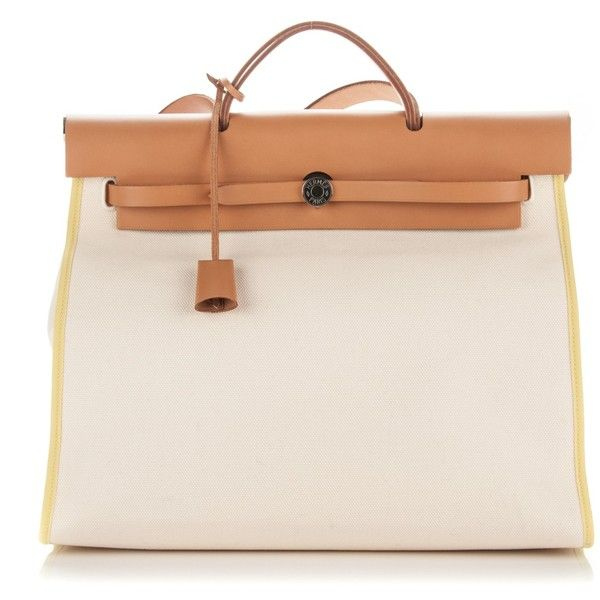 HERMES Toile Vache Hunter Herbag Zip 39 MM Blanc White Soufre ❤ liked on Polyvore featuring bags, handbags, white purse, handbags totes, white handbags, leather zip tote and hermes purse