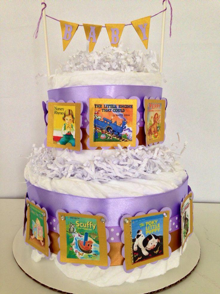 Book Theme Diaper Cake, 2 Tier Baby Shower Centerpiece