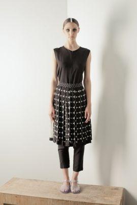 Pleated skirt with dots | Adelina Ivan Studio