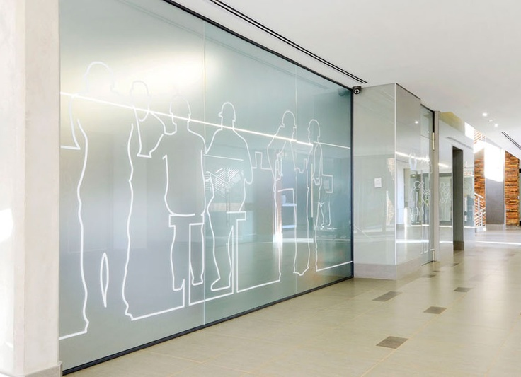 Corridor environmental graphics pinterest for Glass wall partitions residential