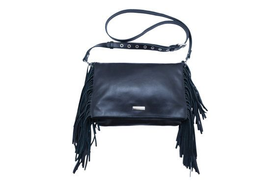 Leather Fringe Bag, Blck Leather Fringe Bag, Black Fringe Bag