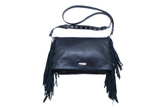 Leather Fringe Bag, Blck Leather Fringe Bag, Black Fringe Bag