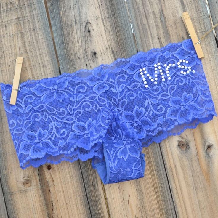 Something Blue BRIDAL Lingerie with bling underwear -  something BLUE boyshort -  MRS. in rhinestones size Large -Ships in 24hrs. $26.00, via Etsy.