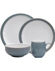 Denby Azure 12-Piece Dinnerware Set. Set includes 4 Dinner Plates, 4 Salad Plates and 4 Soup/Cereal Bowls Made from Stoneware Stoneware clay is very strong; It is fully vitrified which gives it strength, durability and chip resistance Each piece of pottery is painstakingly glazed by skilled craftsman Dishwasher, microwave, oven and freezer safe