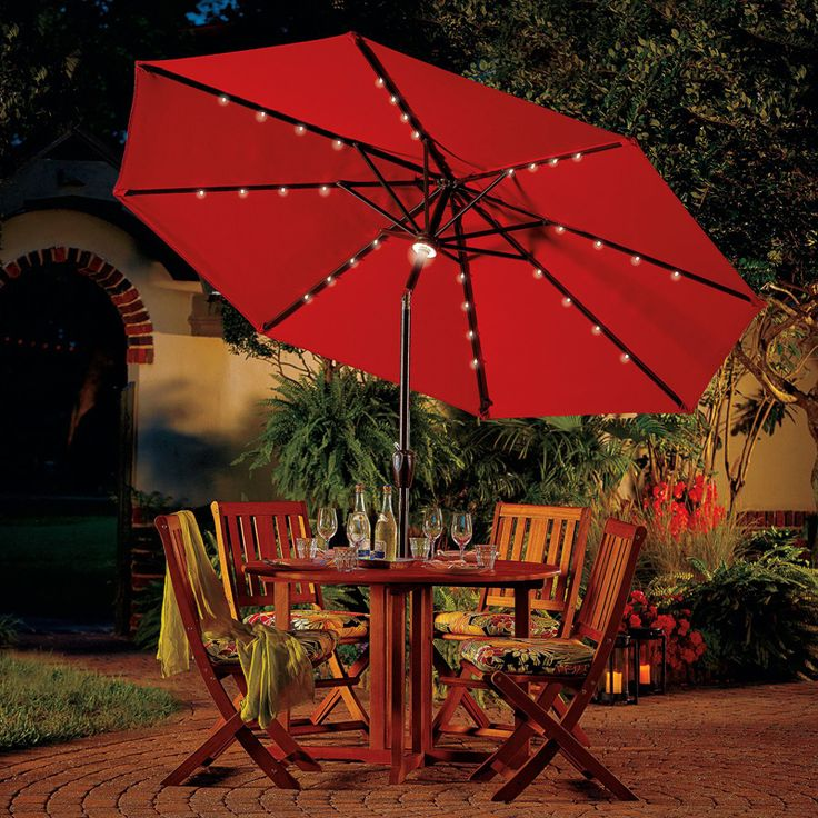 Light Up Your Outdoor Dining Area With A 9 Ft Solar Lighted Patio Umbrella.
