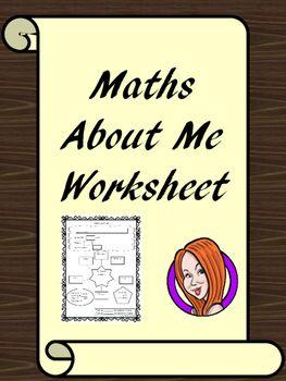 Maths About Me Worksheet A fun maths worksheet, for introducing maths at the…