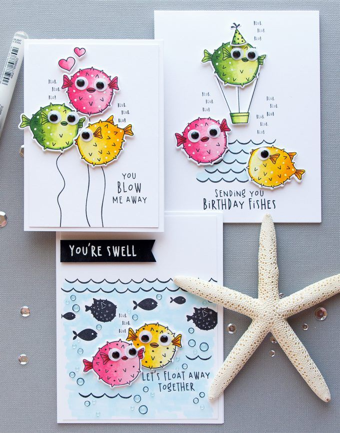 Hero Arts   Funny Puffer Fish Cards - Let's Float Away Together