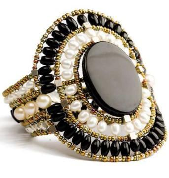 Italian Designer Jewelry: Black, white and fabulous! This bracelet is $495 at www.SalangOnline.com