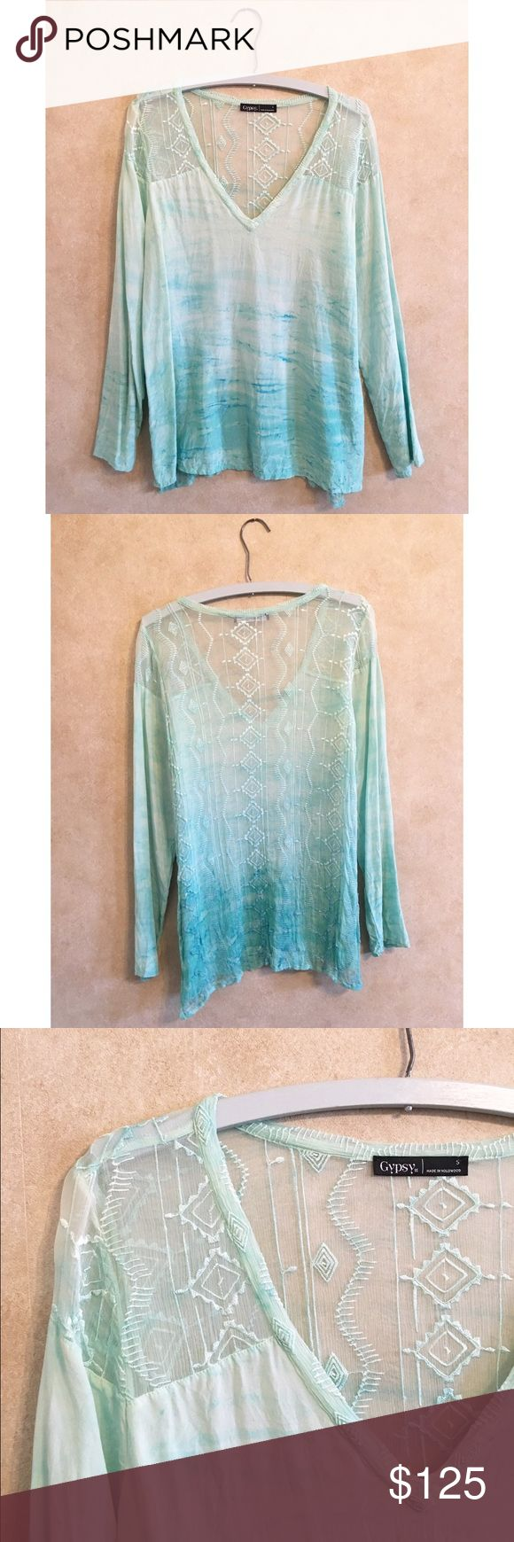 Gypsy 05 Green Ombré Blouse. Dip Dye Style. Made of silk and lace. Loose and flowy fit. Sheer fabric at shoulders and full back. Perfect for any semi-formal event, such as a shower or birthday party. Worn twice, like new. Gypsy 05 Tops Blouses
