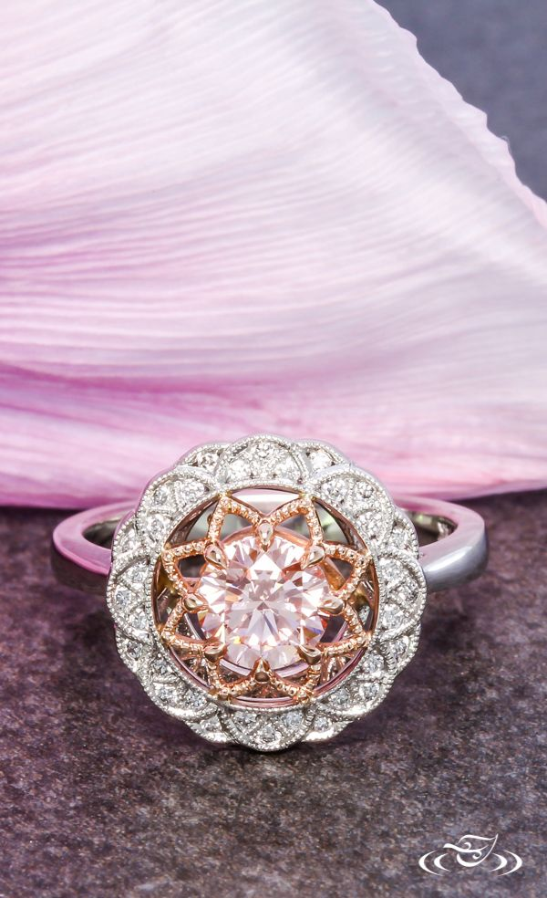 Unique Pink Diamond Halo Engagement Ring ~ #GreenLakeJewelry