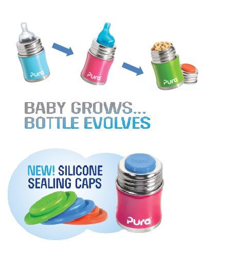Pura Kiki Stainless Steel Baby Bottle: Goes from bottle, to sippy cup, to snack container - Man, I can't even begin to describe how much I love things that change when your kids get older or for different purposes.