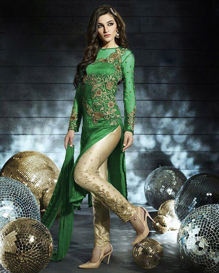 Green Net Pakistani Style Suit 58090
