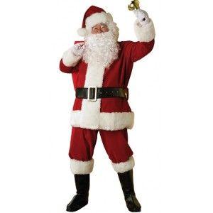 Costume père Noël luxe santa claus en peluche haute qualité adulte, costume deguisement père Noël Rouge 7 pièces.