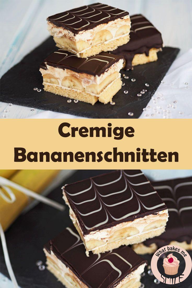 Rezept für köstliche, cremige Bananenschnitten mit selbstgemachter Vanillepudding-Creme und lockerem Biskuitboden.