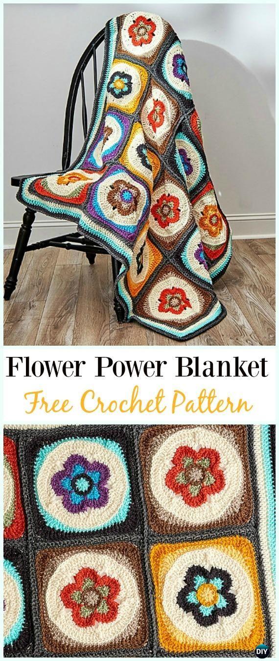 Crochet Flower Power Blanket Free Pattern - #Crochet; Flower #Blanket; Free Patterns