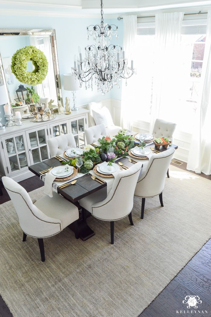 Elegant lauren's surprise blue dining room with World Market Linen Lydia Chairs and Restoration Hardware Buffet