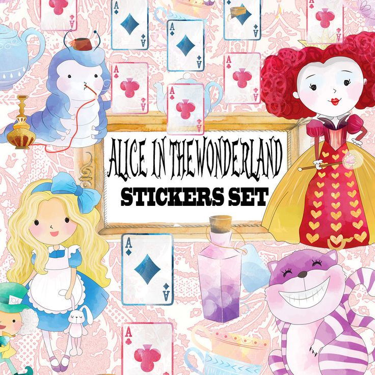Alice in the wonderland,Tea Party,Stickers Card Making,Scrapbook embellishment