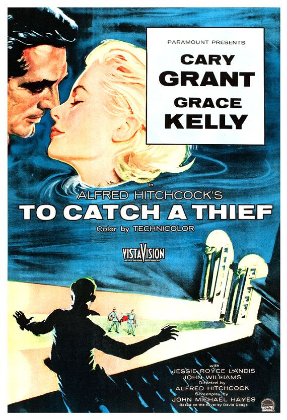 To Catch A Thief  Alfred Hitchcock Movie Poster Print by jangoArts, $19.50