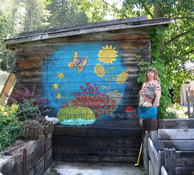 Mural on garden shed mural pinterest for Mural garden