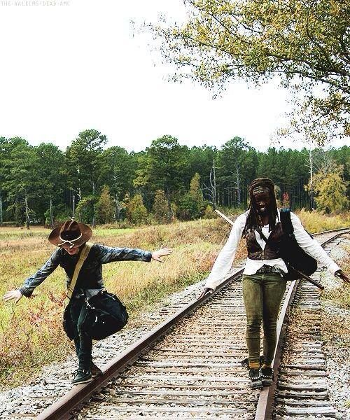 Chandler Riggs (Carl Grimes) and Danai Gurira (Michonne) on the set of The Walking Dead. #TWD