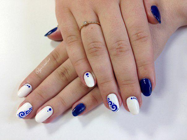 Acrylic nails, Gzhel nails, January nails, Nails with curls, Nautical nails, New year nails ideas 2017, New years nails, Oval nails