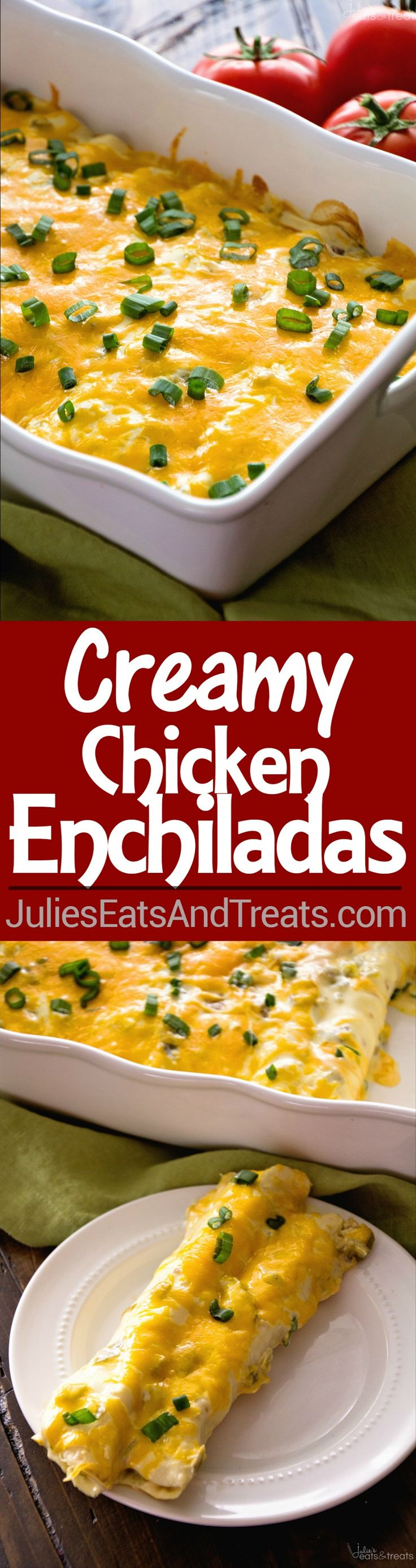 Creamy Chicken Enchiladas Recipe ~ Easy Weeknight Dinner! Delicious Creamy Chicken Enchiladas Loaded with Cheese!