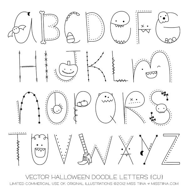 Monsters ... Halloween Doodle letters