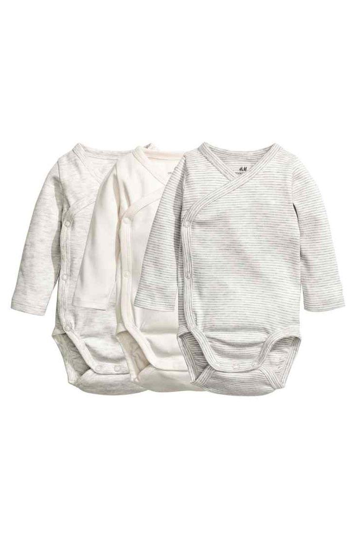 3-pak slå om-bodyer - Grå/Hvidstribet - Kids | H&M DK 1