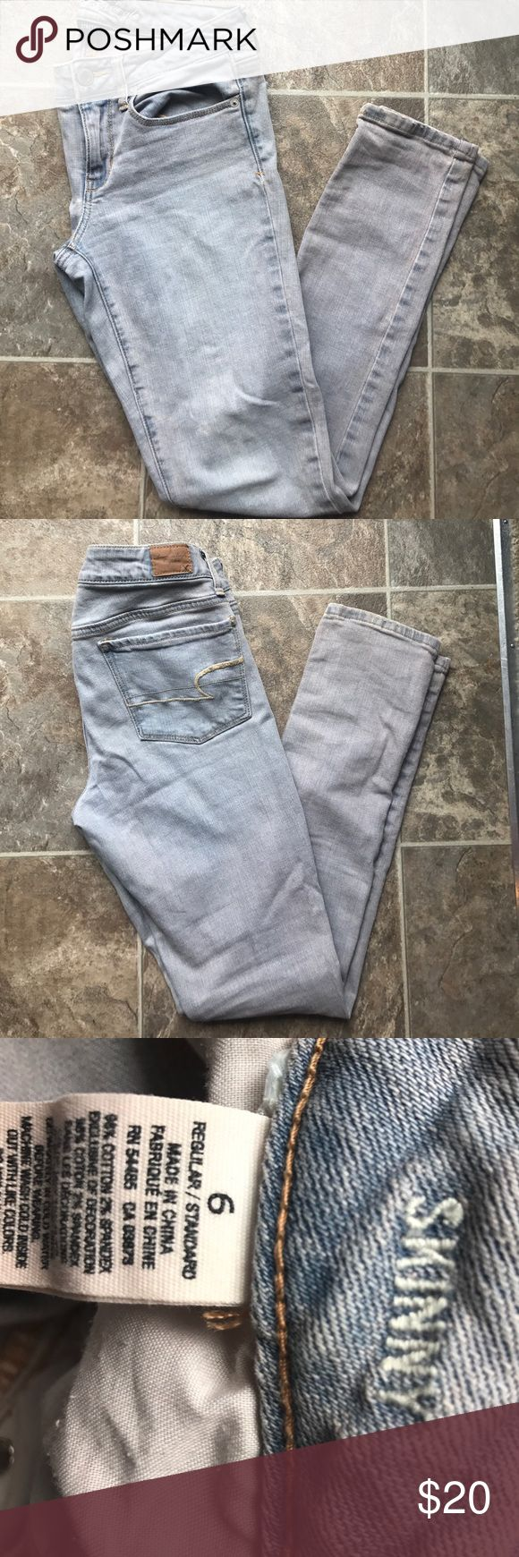 Super light wash skinny jeans size 6 American Eagle super light wash skinny jeans size 8 regular; super stretch; like new American Eagle Outfitters Jeans Skinny