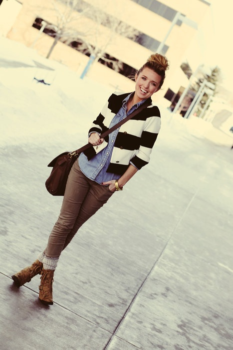 Denim shirt + striped blazer.: Fall Clothes, Dream Closet, Weather Clothes, Awesome Pin, Stripes, Clothes My Style Pinboard, Cold Weather