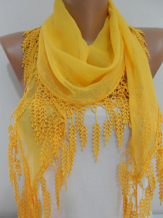 Bright yellow scarf shawl, Cowl scarf with lace edge, Cotton scarf, Lightweight scarf, Scarves, Shawls, Gift for her, Shawl scarf, ScarfClub on Etsy, $15.00