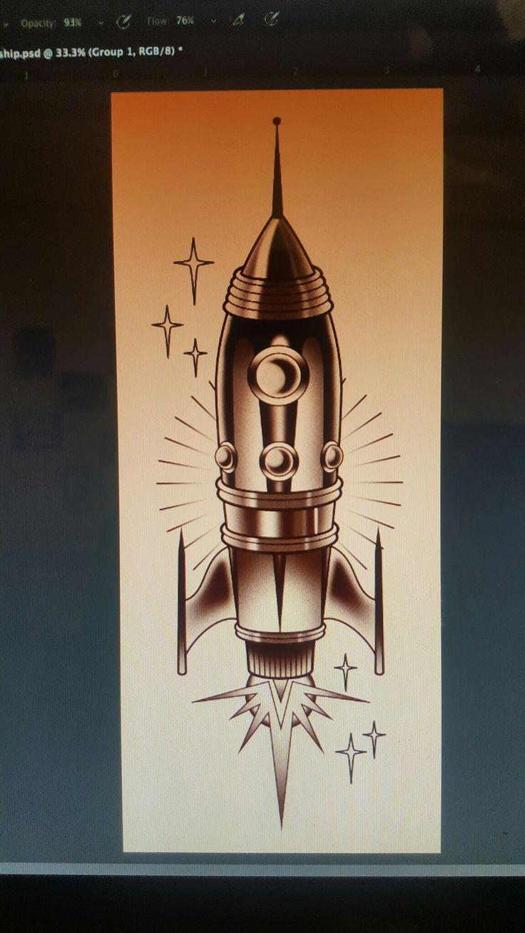 Rocket ship tattoo concept                                                                                                                                                                                 More