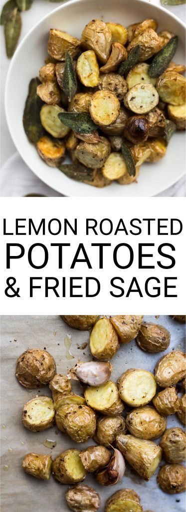 Lemon Roasted Potatoes with Fried Sage: ultra crispy and tender, these potatoes make for a beautiful gluten free and vegan side dish. Try it as a healthier Thanksgiving side! || fooduzzi.com recipes
