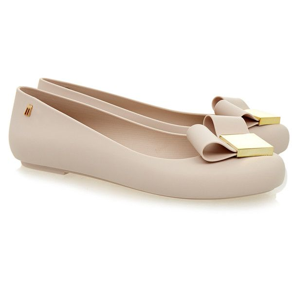 Melissa Space Love Nude Heart Flats ($53) ❤ liked on Polyvore featuring shoes, flats, neutrals, slip on shoes, nude flats, ballet flat shoes, embellished flats y flat pumps