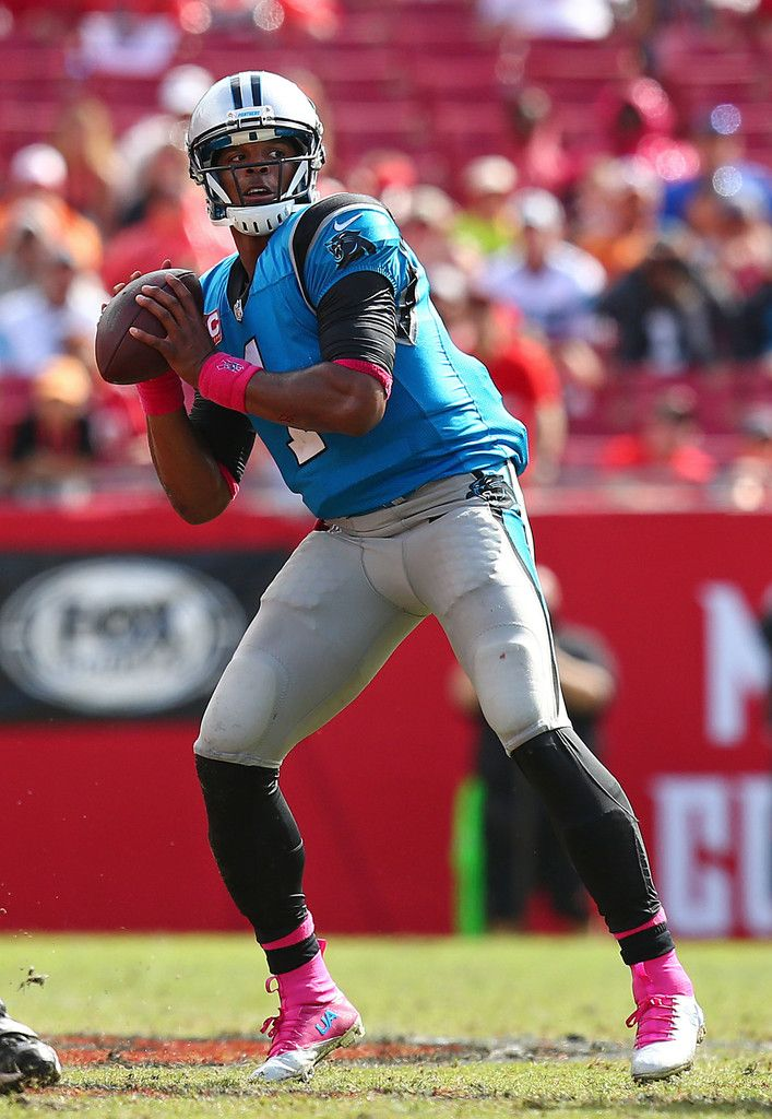Cam Newton #1 of the Carolina Panthers sets to throw during the second half of the game against the Tampa Bay Buccaneers at Raymond James Stadium on October 4, 2015 in Tampa, Florida. (Oct. 3, 2015 - Source: Rob Foldy/Getty Images North America)
