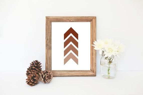 Sierra Brown Printable, Chevron Art Print, Brown Wall Art, Shades of Brown Print, Chevron, Wall Art, Rustic Home Decor Print