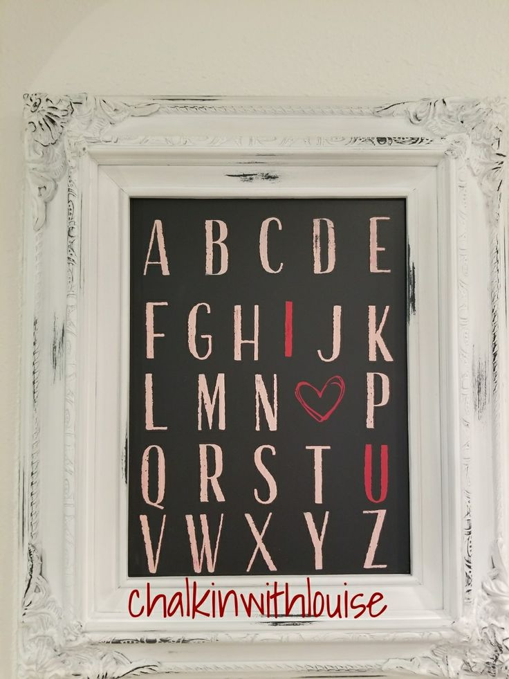ABC I love you home decor piece. Created using chalk font transfer and peachy and Red chalk paste from Chalk Couture louisegull.chalkcouture.com