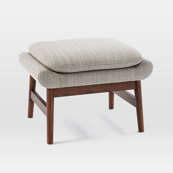 Theo Ottoman Shadow Weave Cement At West Elm Ottomans Stools
